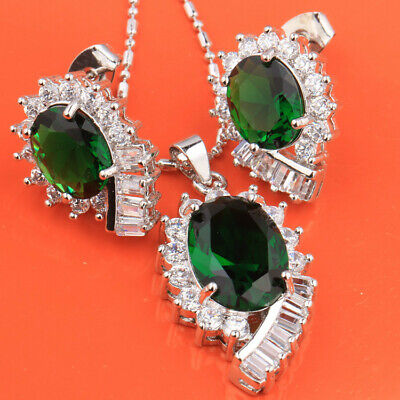 Sterling Silver Necklace and Earring Set Oval Cut Emerald Green CZ -