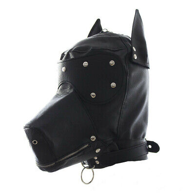 New Sexy Costume Party Faux Leather Gimp Dog Puppy Hood Full Mask - Dog Mask Leather