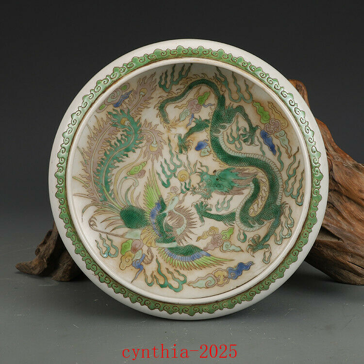 "5.7""Rare China Porcelain jiaqing Multicolored Dragon Phoenix lines brush wash"