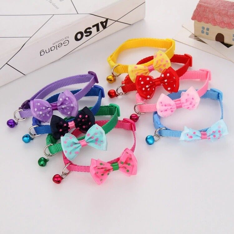 Small Dog Cat Collar Lacey ~ Buckle Bell Bow Tie Puppy Kitten Small Pet Collars