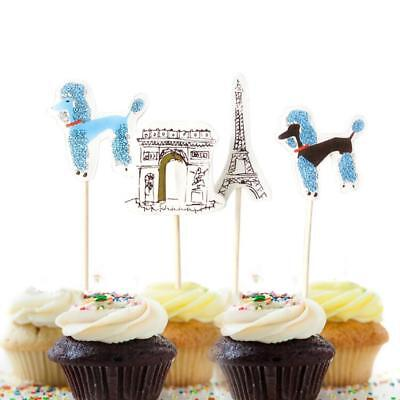 24 Paris Eiffel Tower Element Decor Favors Cupcake Topper Wedding Birthday Party ()