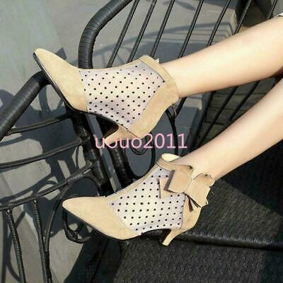 как выглядит Sweet Womens Pumps Ankle Boots Kitten Heel Bowknot Mesh Point Pointy Toe Shoes фото