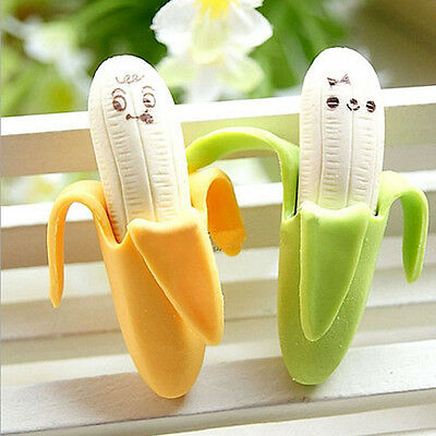 2Pcs Funny Cute Banana Pencil Eraser Rubber Novelty Toy For Children Kids sa3 - Pencil Eraser