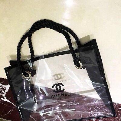 NIP Chanel VIP BEAUTE Size M Black Clear Transparent cosmetic tote bag  Plastic