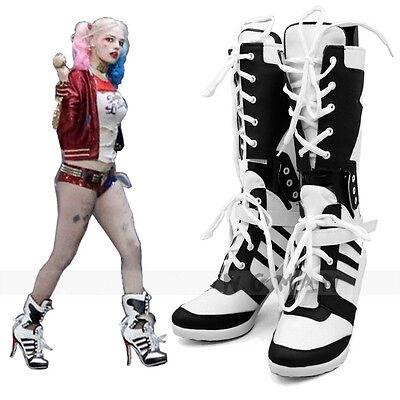 Harley Quinn DC Selbstmordkommando Stiefel Ferse Schuhe Cosplay - Leder Harley Quinn Kostüm