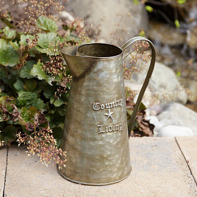 New Primitive French Chic Vintage  COUNTRY LIVING METAL PITCHER Rustic Tin Vase - Tin Vase