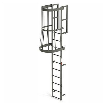 Steel Fixed Ladder - NEW! EGA Steel Fixed Cage Ladder, 10 Step Gray!!