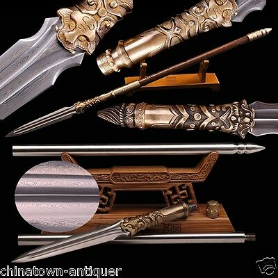 Dragon Tiger Dragon Tiger Overlord Spear pike sword pattern steel blade #4245