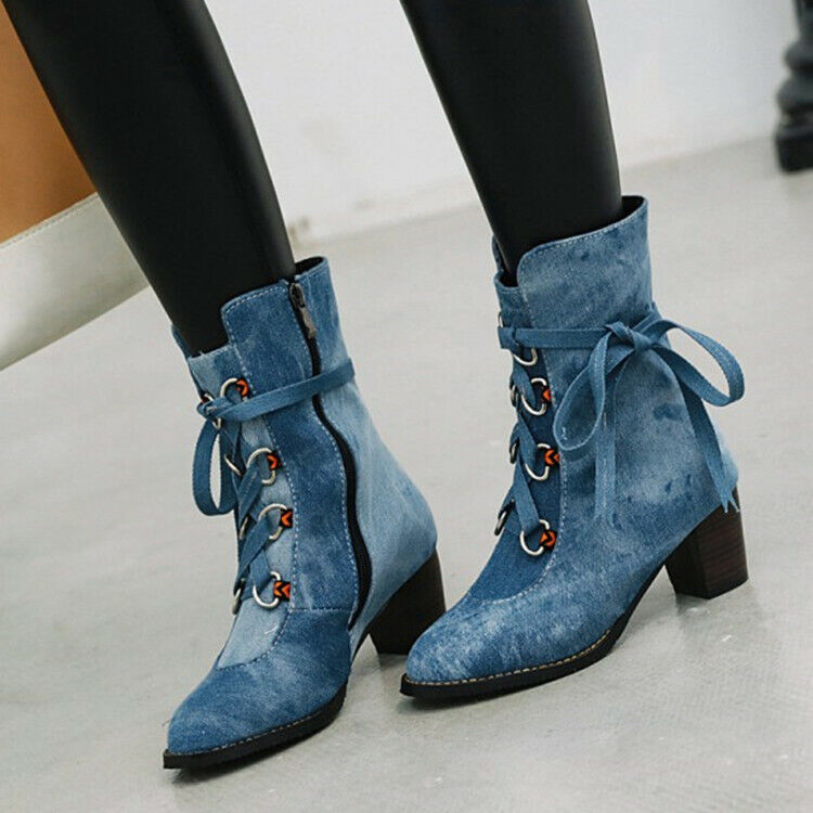 Womens Casual Denim Ankle Boots Block Heel Lace Up Zipper Round Toe Shoes new