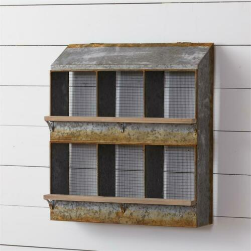 New Primitive Farmhouse Rustic CHICKEN COOP NESTING BOX SHELF Wall Bins