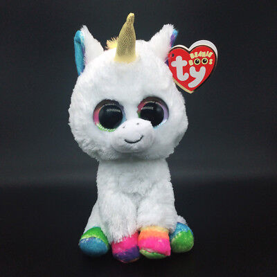 "6"" TY Beanie Boos White Unicorn 2018 New Pixy Glitter Eyes Stuffed Plush Toys"