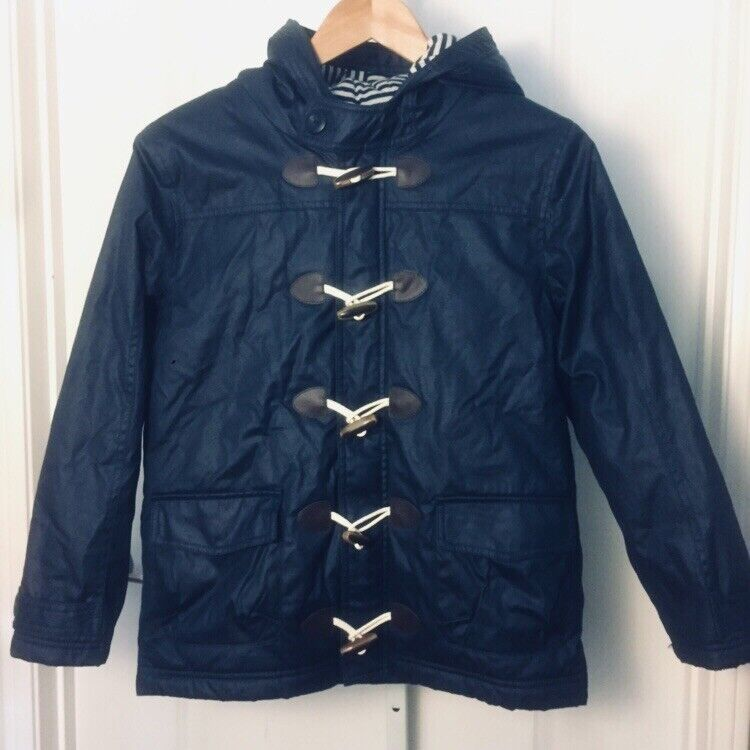 Hannah Andersson Navy Blue Hooded Toggle Jacket Striped Quilt Lining Sz 150