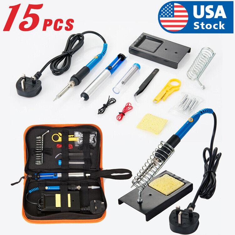15Pcs Soldering Tips Iron Kit Electronics60W Adjustable Temperature Welding Tool Home & Garden