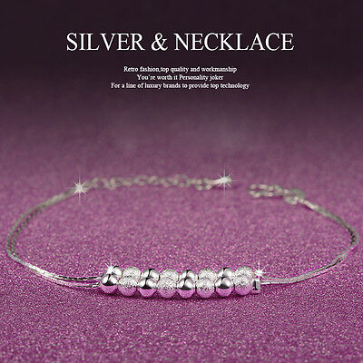 HOT Women 925 Sterling Silver Crystal Chain Bangle Cuff Charm Bracelet Jewelry