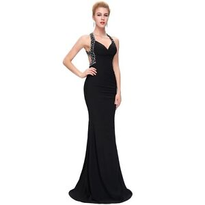 Brand New Black Backless Prom Formal Dress