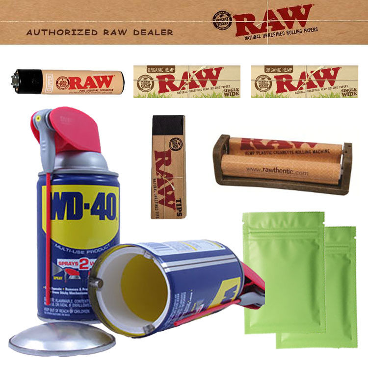 STASH CAN RAW ROLLING PAPERS ROLLER TIPS CLIPPER LIGHTER SMELL PROOF BAG TRAY WD