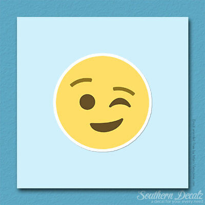 Wink Face Winking Smiley Emoji - Vinyl Decal Sticker - c141 - 3.75