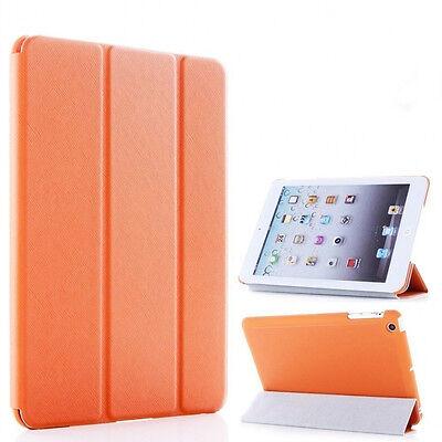 Orange iPad Air Magnetic Smart Case Cover Hard Back Leather Front Ultra Slim