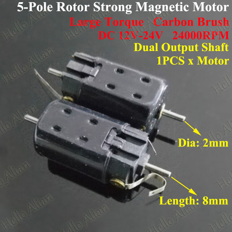 Dc 12v 24v High Speed Magnetic Double Dual Shaft 5 Pole