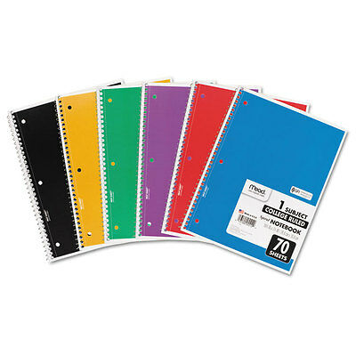 Mead Spiral Bound Notebook Perforated College Rule 10 12 X 8 White 70 Sheets
