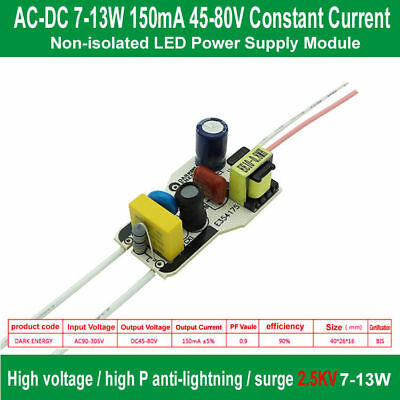 Ac 90-305v To 7-13w Led Driver 150ma Dc 45-80v Led Constant Current Power Supply