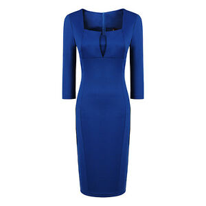 Womens Concise Elegant square Neck Bodycon fold Slim Fit Pencil Dress US Seller