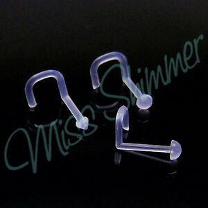 3-CLEAR-NOSE-RETAINER-18g-CLEAR-FLEXI-HIDE-PIERCING-1mm-NOSE-STUD-SCREWS