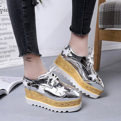 Casual Women's Leather Star Platform Creepers Wedge Fashion Sneakers Lace Shoes Leather Star Creeper Shoe