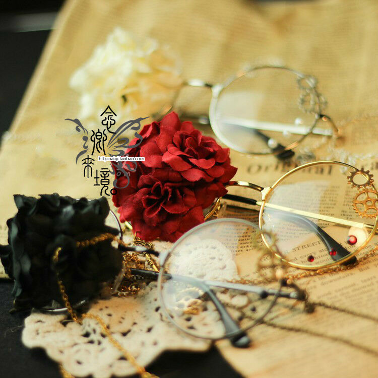 Harajuku Gothic Cosplay Lolita Rose Steampunk VINTAGE DIY Glasses Japanese #