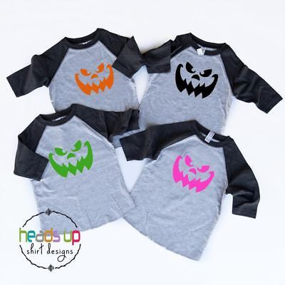 Toddler Twin Costumes (Toddler Scary Pumpkin Face Shirt Costume Boy or Girl Baby Twins Tees)