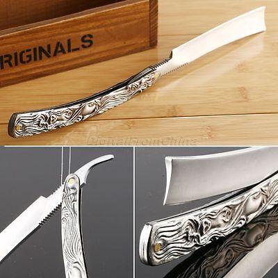 New Straight Edge Steel Barber Razor Folding Shaving Shave Knife Aluminum Handle