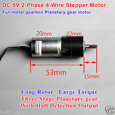 Dc 5v 2-phase 4-wire 22mm Planetary Servo Stepper Motor Micro Full Metal Gearbox