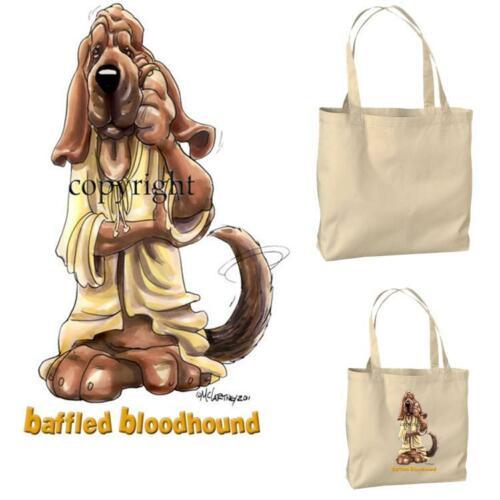 Bloodhound Dog Baffled Look Cartoon Artist Canvas Market Grocery Tote Bag