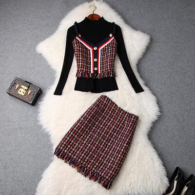 Winter Women Suits Sweater+Vest+Skirt Sets 3/PCS 2018 Fashion Designer Wholesale - Wholesale Womens Suits