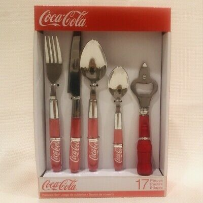 Coca-Cola  17-piece flatware set 4 place settings plus bottle opener New In Box