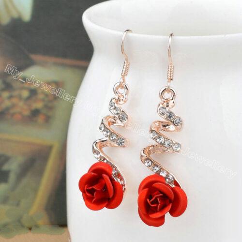 Rhinestone Crystal Pearl Flower Heart Animal Hook Drop Dangle Earrings Women New