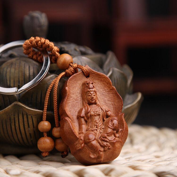 Buddhism Kwan Yin Head Statue Wood Carving Chinese Pendant Key Chain Keyring