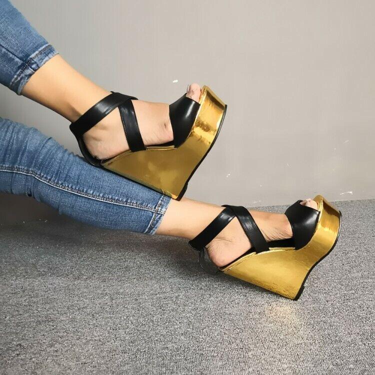 Stylish Women Wedges Sandals Platform Gold Black Casual Shoe