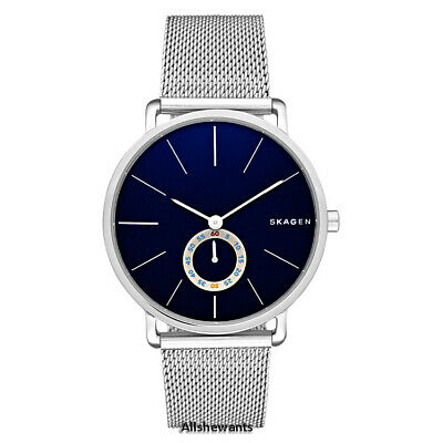 NEW SKAGEN WATCH Men * Hagen Blue Dial * Silver Mesh Bracelet SKW6230 MSRP -