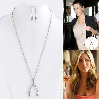 New Women Fashion Celebrityinspired Trendy Wish Bone Silver Pendant Necklace Set