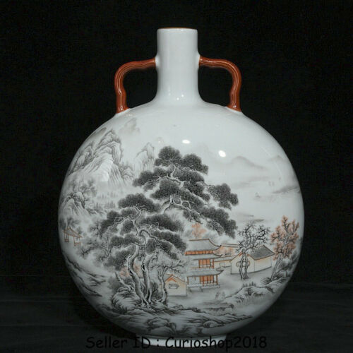 """12.8"""" Qianlong Marked China grisaille Porcelain Mountain Water Flat Bottle Vase"""