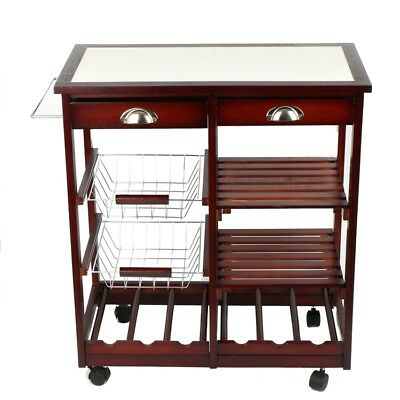 4 Tier Portable Cherry Wood Kitchen Trolley Basket Cabinet Storage Racks Wheels