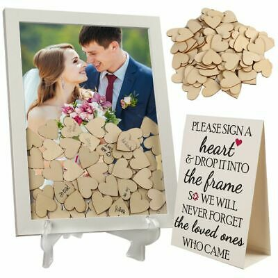 Wedding Guest Book Alternative Drop Top Frame 87 Wooden Hearts Rustic Reception
