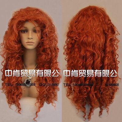 Movie Film Brave Merida Long Curly Red Orange Heat Resistant Cosplay Wigs - Movie Wigs