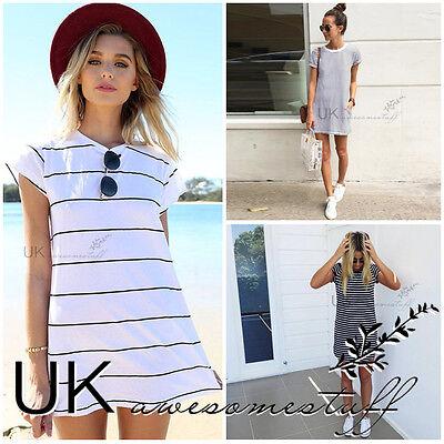 UK Womens Summer T-Shirt Dress Ladies Striped Mini Party Sun Dress Size 6 - 14