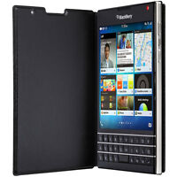 Official BlackBerry Passport Leather Flip Case - Brown / Black