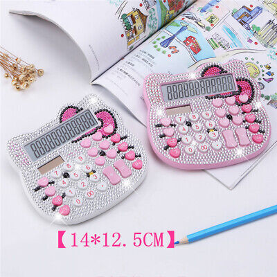Cute Rhinestone Crystal Hello Kitty Calculator 12 Digits Stationery Office Solar