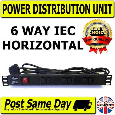 """Lan Rack (19"""" IEC Horizontal 6 Way Rack Mount Power Distribution Unit PDU Data Lan Cabinet)"""