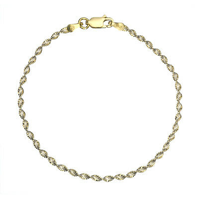 18K Gold over 925 Silver 2.5mm Diamond-Cut Italian 2-Tone Twisted Chain -