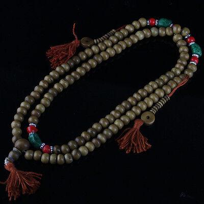 Long Tibet Turquoise Coral 108 Yak Bone Prayer Beads 3 Tassel Mala Necklace